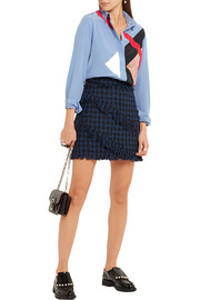 Fringed houndstooth tweed mini skirt