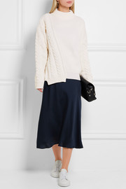 Jil Sander Asymmetric ribbed and cable-knit wool sweater