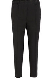 Cropped stretch-wool straight-leg pants