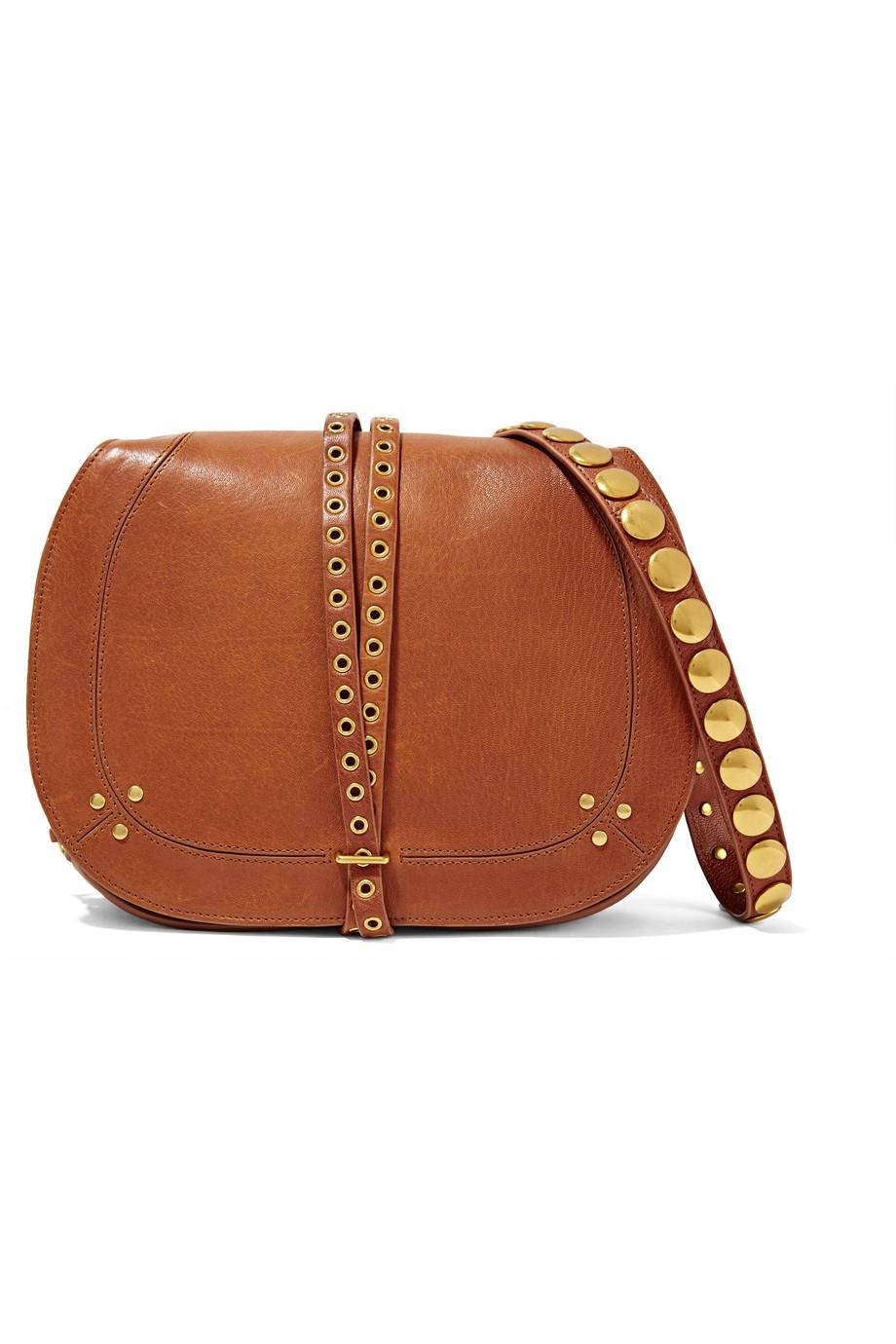 Jérôme Dreyfuss Nestor Embellished Leather Shoulder Bag, Camel, Women's