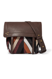 Jeremie small patchwork suede and textured-leather shoulder bag