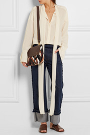 Jérôme Dreyfuss Jeremie small patchwork suede and textured-leather shoulder bag