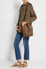 Jérôme Dreyfuss Popeye leather-trimmed leopard-print calf hair shoulder bag