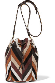 Popeye striped suede shoulder bag