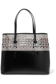 Eyelet-embellished leather tote