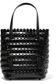 Laser-cut woven leather tote
