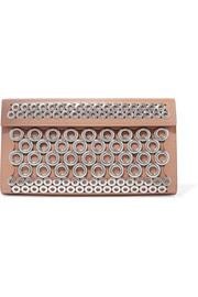 Alaïa Eyelet-embellished leather clutch