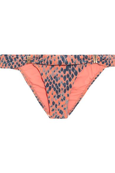 Vix - Bia Snake-print Bikini Briefs - Peach