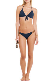 Vix Leather-trimmed triangle bikini top