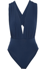 Plunge-front swimsuit