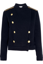 Chain-embellished wool-blend jacket