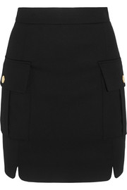 Pierre Balmain Button-embellished stretch-twill mini skirt