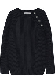 Pierre Balmain Button-detailed ribbed wool-blend sweater