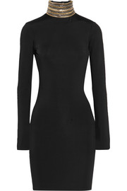 Pierre Balmain Open-back chain-embellished stretch-jersey mini dress
