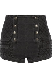Button-detailed quilted stretch-denim shorts