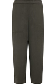 Cropped silk-twill wide-leg pants