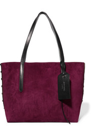 Sara medium studded suede and textured-leather tote