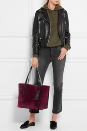 Jimmy Choo Sara medium studded suede and textured-leather tote