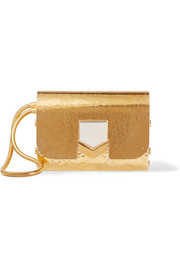 Jimmy Choo Lockett hammered gold-tone clutch