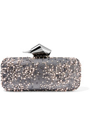 Cloud embellished lace and gunmetal-tone clutch