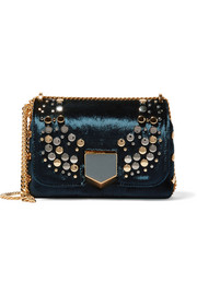Lockett Petite embellished velvet shoulder bag
