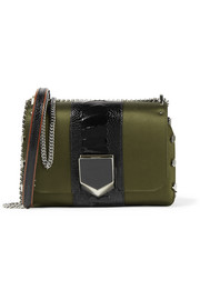 Lockett petite patent leather-trimmed satin shoulder bag