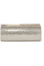 Jimmy Choo Trinket glittered canvas clutch
