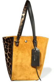 Twist leather-trimmed suede and leopard-print calf hair tote