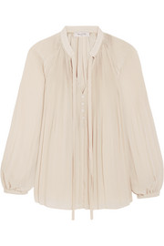 Paul & Joe Ecardinal plissé-chiffon blouse