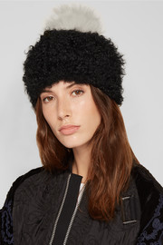 Pompom-embellished shearling beanie