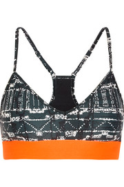 Andie printed stretch-jersey and mesh sports bra