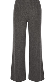 The Row Latone ribbed cashmere wide-leg pants