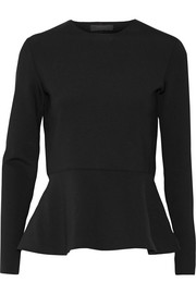 The Row Mel stretch-scuba peplum top