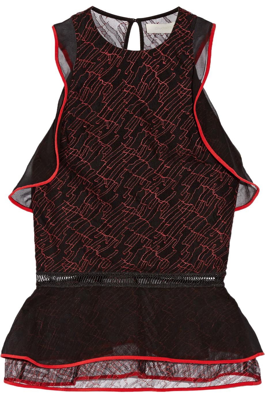 Ruffled Silk Chiffon-Trimmed Lace Peplum Top, Jonathan Simkhai, Black/Red, Women's, Size: 0