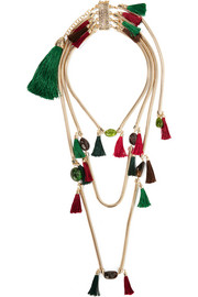 Rosantica Frivola tasseled gold-tone tourmaline agate necklace