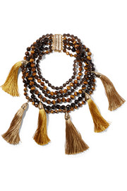 Rosantica Teatro tasseled gold-tone, tiger eye and quartz necklace