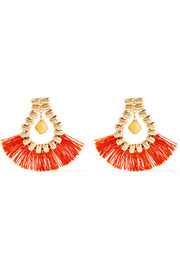 Atena fringed gold-tone calcite earrings