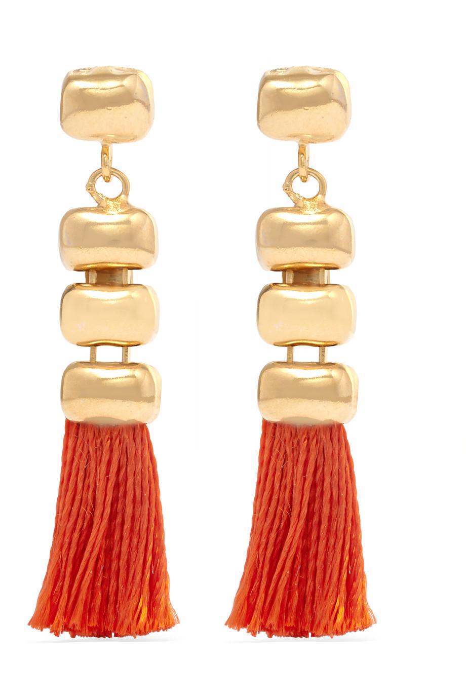 Rosantica Atena Tasseled Gold-Tone Earrings, Orange/Gold, Women's
