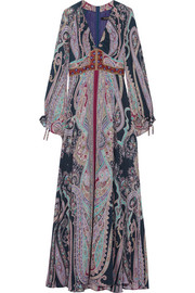 Embellished paisley-print silk maxi dress