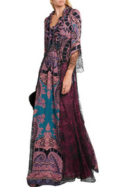 Lace-paneled printed silk crepe de chine maxi dress