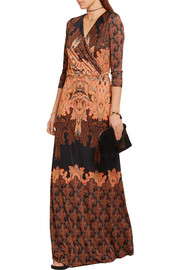 Paisley-print silk-jersey maxi dress