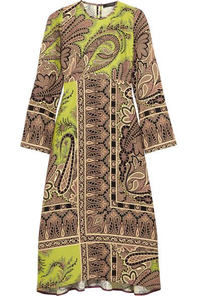 Etro - Paisley-print Crepe Midi Dress - Chartreuse
