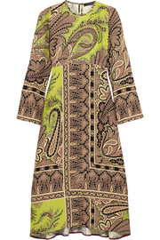 Paisley-print crepe midi dress