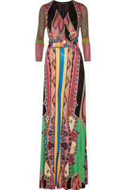 Etro Wrap-effect printed silk-jersey maxi dress