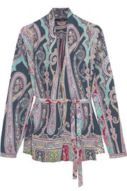 Etro Belted paisley-print silk blouse