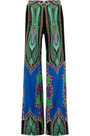 Etro Printed silk-jersey wide-leg pants