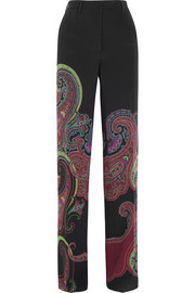 Etro Paisley-print stretch-silk wide-leg pants