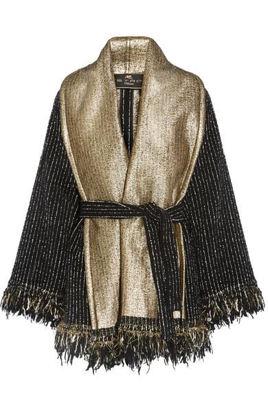 etro female 188971 etro fringed woolblend boucle wrap black