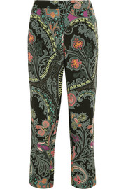 Paisley-print silk straight-leg pants