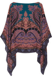 Etro Printed wool and silk-blend poncho